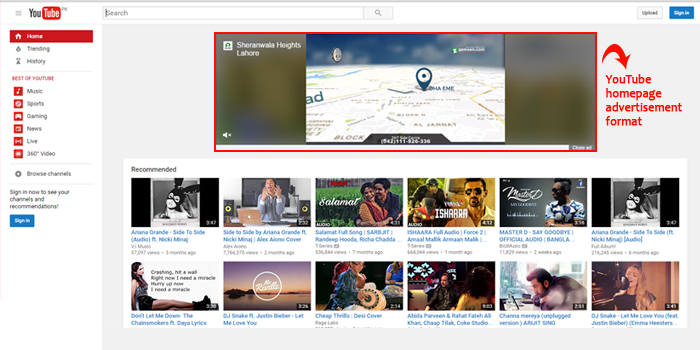 YouTube Homepage Advertisement Format Screenshot