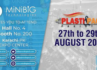 Minibig Technologies Participating in Plasti & Pack Exhibition from 27 to 29 August 2019 at Karachi Expo Center.